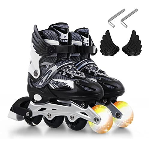 Daseey Patins infantis Flash Inline Skates Patins Ajustáveis Sapatos Patins