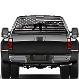 WILDLAVIE Rear Window Perforated Decal Black White Distressed American Flag Guns Graphic Patriotic Decoration Vinyl Sticker Size 66' x 20' Fit Most Pickup Trucks SUV