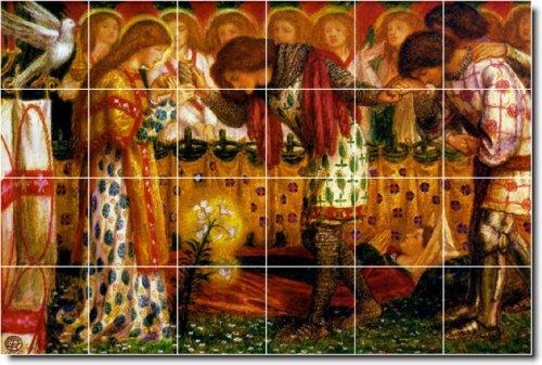 Dante Rossetti Mythology bagno Tile Mural 10. 25,5 x 17 cm, con 24 pezzi, 11 x 4,25 piastrelle di ceramica.