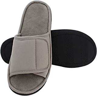 Magtoe Men Washable Microfiber Suede Adjustable Memory Foam Home Open Toe Indoor Slippers