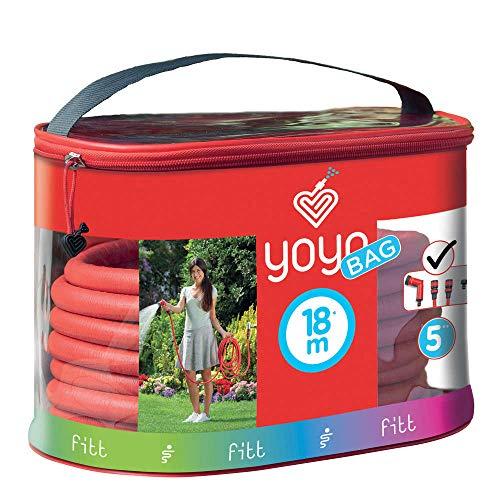 FITT YOYO Bag Manguera de Agua de jardín Extensible para riego Profesional con Estuche práctico Equipado con Cierre y Apoyo para el Transporte después del Uso, Pistola Multi-Jet, Rojo, 18 m