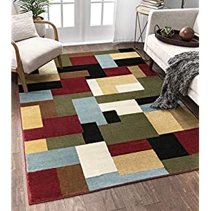 "Imperial Mosaic Multicolor Geometric Modern Casual Area Rug 3×5 4×6 ( 3'11"" x 5'3″ ) Easy to Clean Stain Fade Resistant Shed Free Abstract Contemporary Color Block Boxes Soft Living Dining Room Rug"