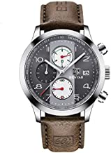 BENYAR Chronograph Waterproof Watches Business Leather Band Strap, Wrist Watch with Date for Men (Gray) …