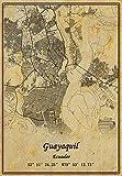 Ecuador Guayaquil Landkarte Wandkunst Poster Leinwanddruck