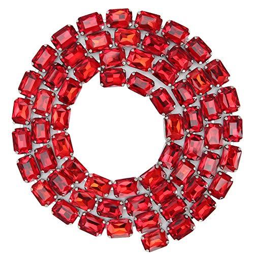 Asixxsix Cadena de Garra de Vidrio, Adorno de Cadena de Garra de Vidrio, Accesorios de Ropa, Manualidades de decoración de Bricolaje, Fiesta de Boda Brillante para(Big Red)