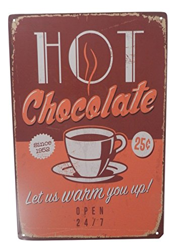 DoubleFly Hot Chocolate Funny Tin Sign Bar Pub Garage Diner Cafe Home Wall Decor Home Decor Art Poster Retro Vintage