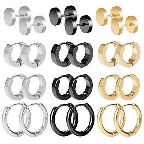 BODYA Mens Hoop Earrings Stainless Steel Stud Hoop Earrings Set for Men Women 18G, 12 Pairs