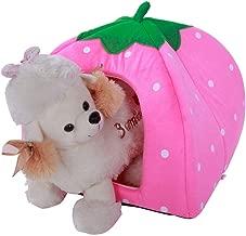 dalilylime Multi-Purpose Pet Teepee Pets Nest Yurt,Cotton Cute Strawberry Style Soft Dog Cat House,Size L(Pink)