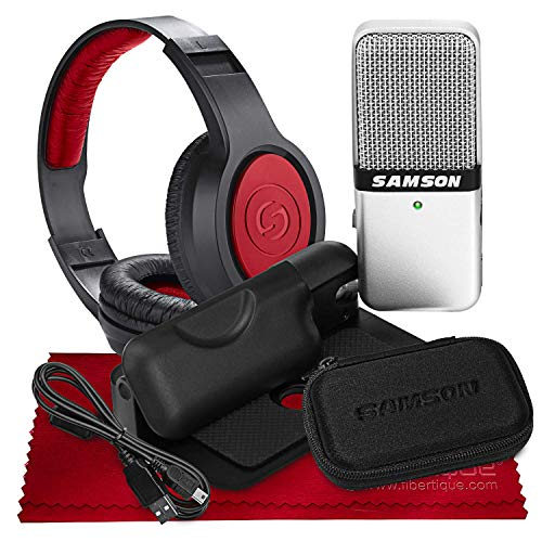 Samson Go Mic USB Microphone for Mac and PC Computers for Recording & Podcasting, Broadcasting with Over-Ear Headphones - Work from Home KIT