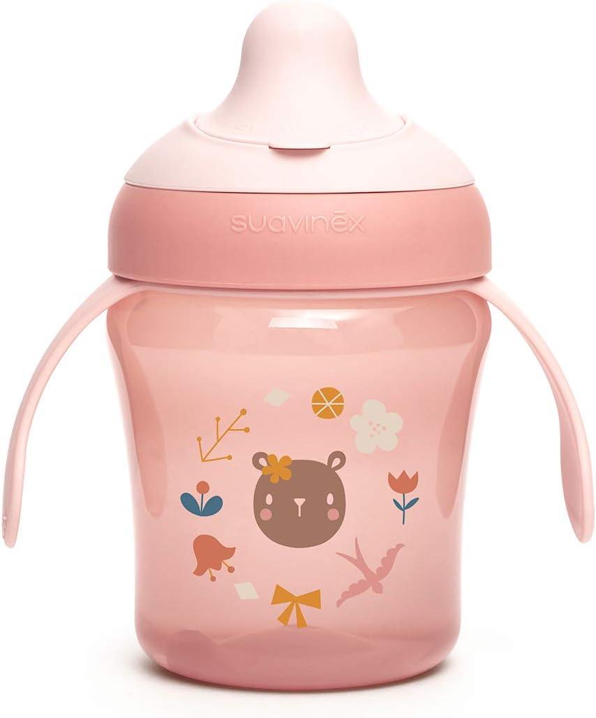 SUAVINEX Vaso Entrenamiento Bebé, Con Boquilla Rígida y Asas, Para Bebés +6 Meses, Apto Para Lavavajillas, Color Rosa, 200ml