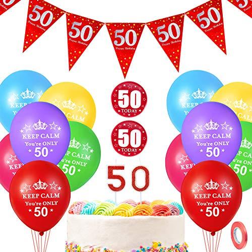 50. Geburtstag Dekoration Set enthält 12 Zoll Keep Calm You're Only 50 Luftballon mit Roten Bändern, Nummer 50 Kerze, 50. Geburtstag Abzeichen und Alles Gute zum 50. Geburtstag Wimpel Ammer Banner