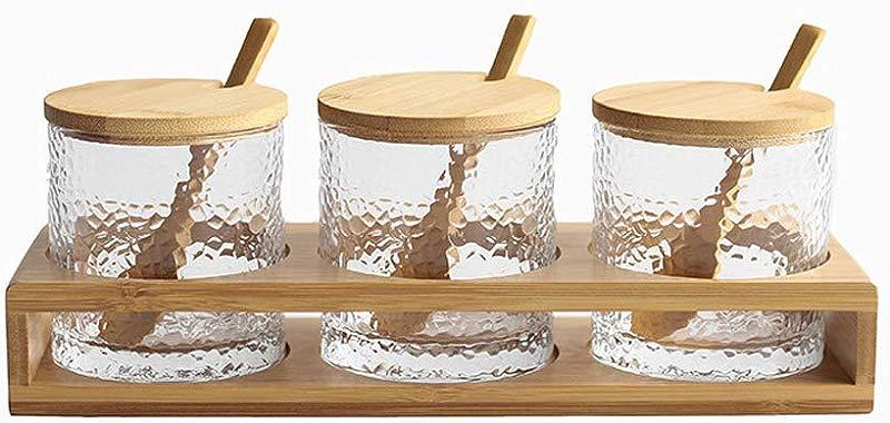 Jomop 3 Bottles Set Bamboo Lid Condiment Pot Seasoning Bottle Glass Kitchen Supplies Spice Rack Salt And Pepper Jar Container Bamboo