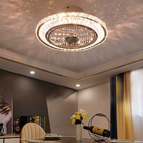 BBZZ Ventiladores de Techo con lámparas LED HKLY, sin Pasos Regulable con Control Remoto Invisible Ventilador de Techo de Cristal de luz de la lámpara de la Sala de Estar Habitación Salón de t.