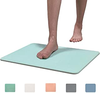 Marbrasse Bath Mat, Absorbent Diatomaceous Earth, Japanese Design, Nonslip Bathroom Floor Mats for Fast Water Drying, Self-Refreshing Hard Shower Mat (Mint)