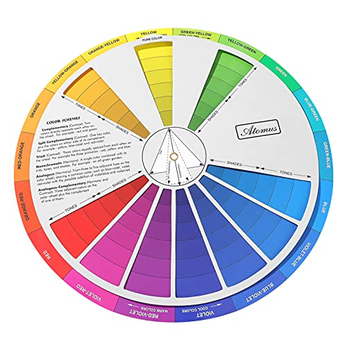 EXCEART Color Mixing Guide Wheel 1Pack Watercolor Colour Guide Wheel Children Color Learning Card Pigment Colour Palette Wheel Art Class Teaching Tool for Makeup Blending Painting