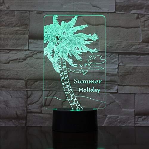 New 3D Optica Plant Lamp USB LED Night Light Coconut Tree Strawberry Birthday Holiday Present For Kids Acrylic Lamparas 1767