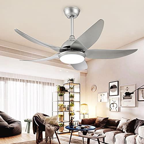 Ventilador de techo en silencio interior de 44 pulgadas, luz de ventilador de techo minimalista moderna, ventilador de techo con kit de luz LED Silver