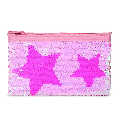 Cute Pencil Case for Girls Kids Mermaid Sequin Pencil Pouch Pen Holder Cosmetic Makeup Organizer Bag Purse for Women
