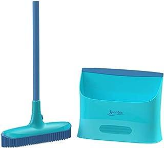SPONTEX - Catch and Clean - Kit de nettoyage et dépoussiérage sol Ultracompact - Balai picots en caoutchouc + pelle - avec...
