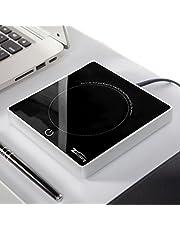 Zoiibuy Koffiewarmer, multifunctionele beker-warmtebehoudingsplaat, resistent glas met elektrische verwarmingsplaat 220 V, 18 W, voor kantoor, huishoudelijk gebruik, pc, notebook, (1,4 miljoen kabel)