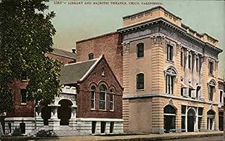 Library and Majestic Theatre Chico, California Original Vintage Postcard