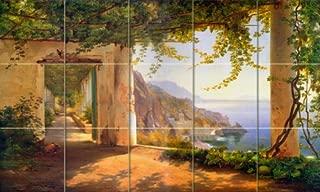 FlekmanArt Amalfi Coast Landscape by Carl Frederic, Aagaard - Art Tumbled Marble Mural 20