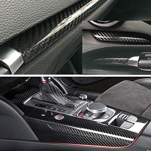 Hdcf A3 Real Carbon Schaltpaneel Mittelkonsole Armaturenbrettverkleidung Türverkleidungsleisten Silberner Ring Startknopf Auto