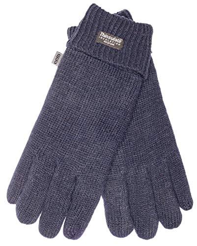 EEM Damen Strick Handschuhe JETTE-IP mit Touch-Funktion und Thinsulate Thermofutter aus Polyester, 100% Wolle, smartphone (L, Navy)