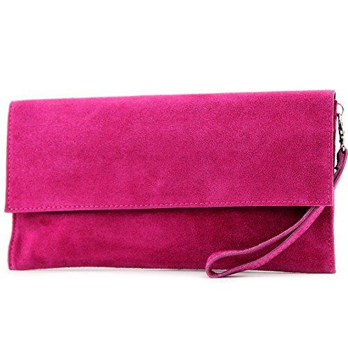 modamoda de - cuero italiano de embrague T151 Pequeño Gamuza, Color:rosa