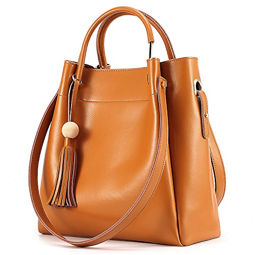 Material: High quality Nappa cowhide split leather; Gold metal hardware; Soft nylon lining Interior Pockets: 1 main pouch with 1 zipper pocket and 2 open pockets. No strap included Structure: Exterior with tassel decoration; All pockets located insid...