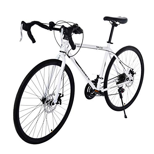 700c Road Bike,21 Speed high Carbon Steel Frame Road BicycleDisc Brakes, Disc Brakes,Full Suspension,City Commuter Bicycle for Men and Women (White)