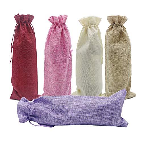 Shintop 10 Stück Jute-Weinbeutel, 34cm x 15cm, Geschenkbeutel aus Sackleinen für Flaschen mit Zugverschluss (Mehrfarbig)