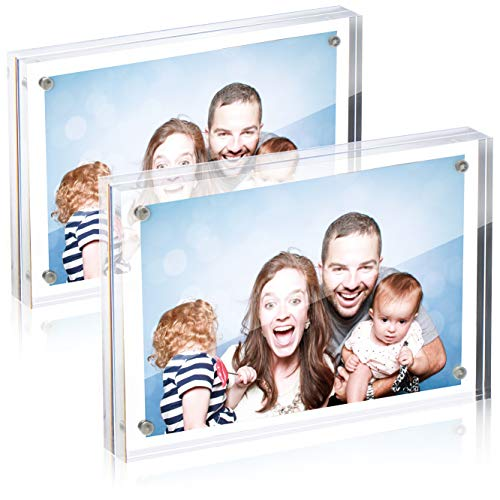 Robin Goods® 2X Magnetischer Acryl-Fotorahmen - Doppelseitiger Display-Block - Klar Transparent - 2 cm Dicke - Beidseitiger sichtbarer Bilderrahmen - Rahmenloser Bilderhalter (transparent - 10x15cm)