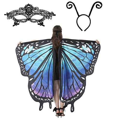 Halloween/Party Costumes,Double-Sided Printing Fabric Butterfly Wings for Women,3 Pieces Butterfly Wings Shape Shawl Cloak Ant Antenna Headband Lace Mask for Costume Accessory (Bluish Green)