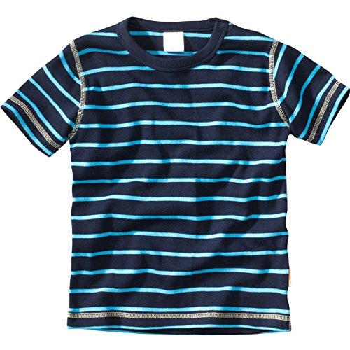 wellyou, Kinder Kurzarm T-Shirt, dunkel-blau türkis, Geringelt, für Jungen, 100% Baumwolle, Größe 128-134