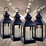 BANBERRY DESIGNS Decorative Lantern - Set of 4-5 Hour Timer - 9 3/8' H Black Lanterns with Flameless Candles Included - Indoor/Outdoor Lantern Set - Patio Porch Decor