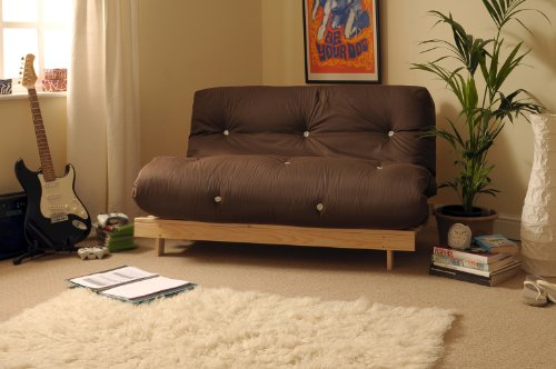 Comfy Living 4ft Small Double 120cm Wooden Futon Set with CHOCOLATE Mattress