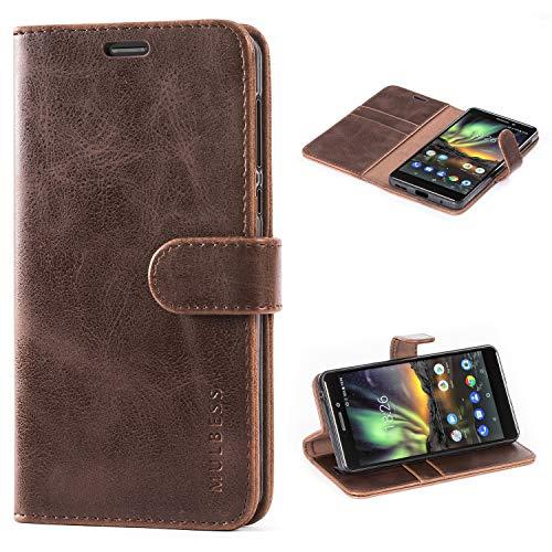 Mulbess Handyhülle für Nokia 6.1 Hülle, Leder Flip Case Schutzhülle für Nokia 6.1 Tasche, Vintage Braun