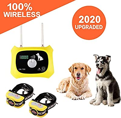 JUSTPET Wireless Dog Fence Electric Pet Containment System, Consistent Signal No Randomly Correction Dog Boundary Container, Waterproof Rechargeable Collar Receiver (Yellow)