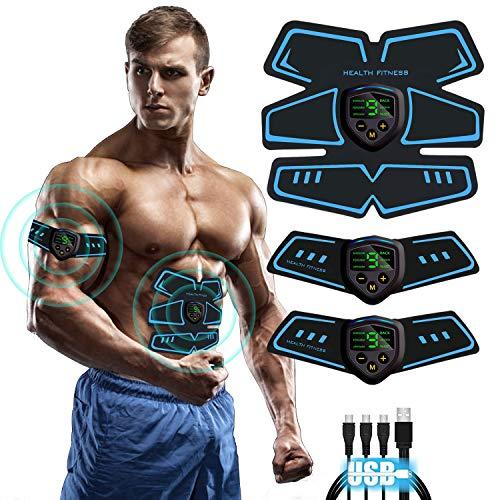 Moonssy Elettrostimolatore per Addominali, Elettrostimolatore Muscolare ABS, EMS Stimolatore Muscolare, USB Ricaricabile per Uomo e Donna Addome Braccio Vita Gambe...