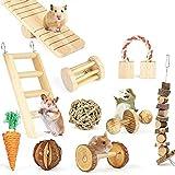 YingQ Hamster Climbing Ladder Hamster en Bois Naturel Lapins Jouets Haltères De Pin Monocycle Cloche Rouleau Jouets À Mâcher pour Cochons d'Inde Rat Petits Animaux Molaires Fournitures-10 Pièces