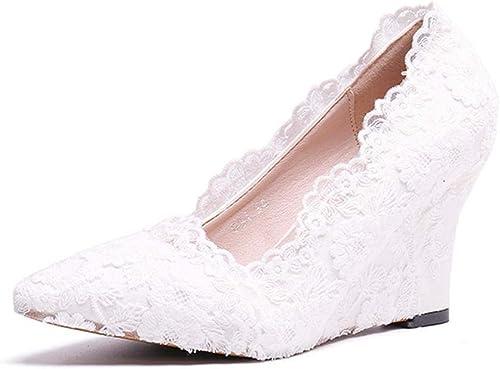 Escarpins MesLes dames Européennes Et Américaines Ont Souligné La Mode De Tissu De Dentelle Confortable Chaussures Sexy De Mariage Sauvage