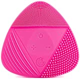 Silicone Sonic Facial Cleansing Brush - Best Beauty Massager for Normal, Sensitive, Combination Skin - Deep Cleaning Exfoliating Face Scrubber, Waterproof & Rechargeable Cleanser Tool, PINK