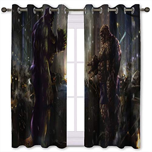 SSKJTC Blackout Curtains for Bedroom Hulk and the Thing Rock Paper Scissors Blackout Window Drapes W55 x L72 Inch