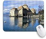 PATINISA Alfombrilla Raton Ordenador,Castillo de Chillon Suiza Famoso pintoresco Castillo Medieval Lago Ginebra Rock Alpes Arquitectura Arte,Alfombrilla Suave Gaming para Ratón Adecuado