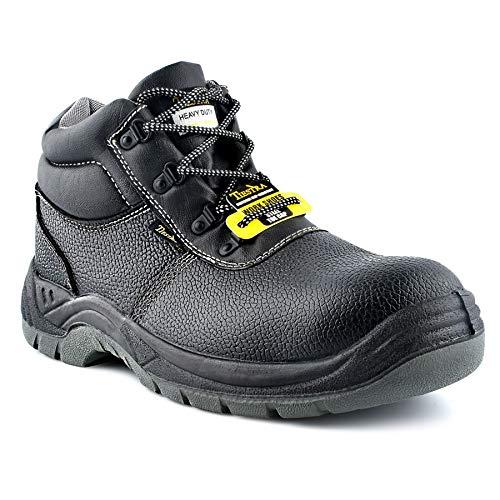 Chaussures de Sécurité Hommes Bottes de Sécurité en Cuir Résistantes et Imperméables S3 SRC, Antidérapante Embout Acier Semelle Anti-Perforation, Antistatique, Noir 41-47EU