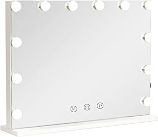 Hollywood Lighted Vanity Mirror with Dimmable Bulbs, USB Charging port, 3 Light Modes, Frameless Tabletop Makeup Mirror with Smart Touch Control, W23