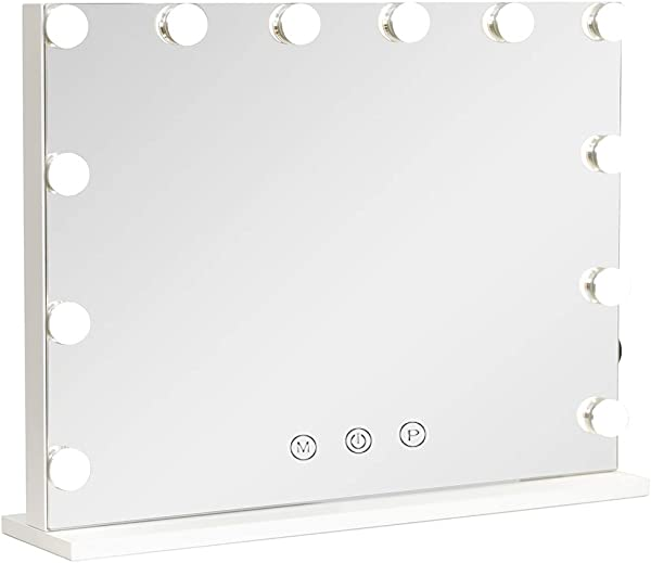 Hollywood Lighted Vanity Mirror With Dimmable Bulbs USB Charging Port 3 Light Modes Frameless Tabletop Makeup Mirror With Smart Touch Control W23 XH18 White