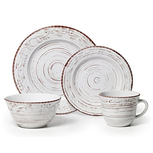 Pfaltzgraff Trellis 16-Piece Dinnerware Set, Distressed White