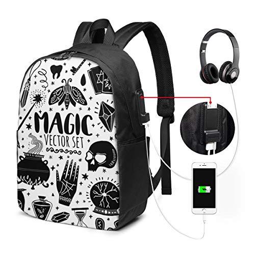 Schulrucksack Mit USB Port Jungen Mädchen Teenager, Rucksack Schule Laptop Rucksack für Herren Damen Daypacks für 15,6 Zoll Laptop Rucksack Witch Magic Doodle Magier